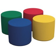 "Softzone® Round Primary Colors Ottoman Set, 18"" (Set of 4)"