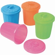 Mini Assorted Plastic Garbage Can Containers (Pack of 12)