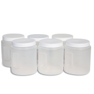 Clear 2-Quart Plastic Container with Screw-Off Lid (Pack of 6)