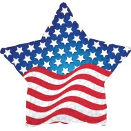 "Patriotic Balloon with Flag Design, 17"" Star Shaped (Pack of 10)"