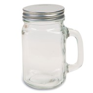 Glass Mason Jar with Handle & Lid, 16 oz. (Pack of 12)