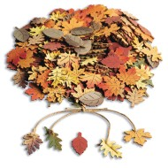 Painted Wood Leaf Charms (Bag of 270)
