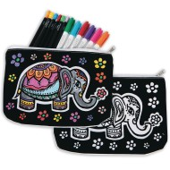 Velvet Art Fabric Elephant Pouch (Pack of 12)