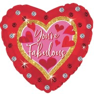 "Heart-Shaped 'You're Fab' 17"" Mylar Balloons (Pack of 10)"