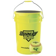 Dudley® Bucket with Dozen Fast Pitch Practice Softballs