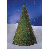 Pull-Up Christmas Berry Tree with Lights, 6'