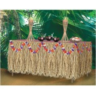Genuine Raffia Luau Table Skirt, 9'