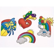 Sun Catcher Assortment - Hearts, Rainbows and Butterflies, 3