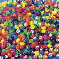 Neon Vowel Beads 1/2-lb Bag