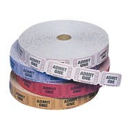 Single Roll Tickets, Admit One - Assorted Colors