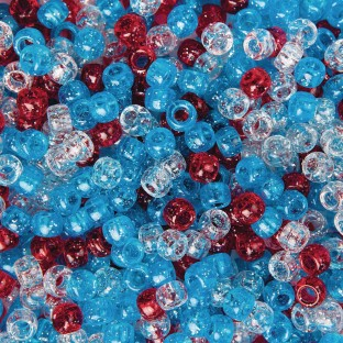 Patriotic Sparkle Pony Bead Mix, 1/2 lb Bag - Image 1 of 1