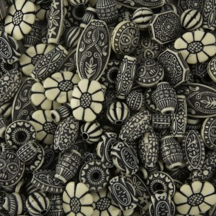 Old World Bead Mix - Black and Ivory - Image 1 of 1