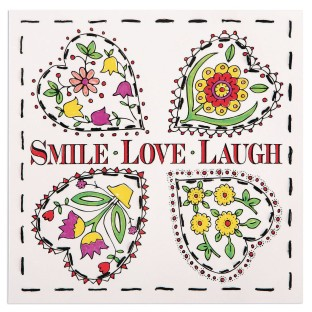 Color and Stitch Craft Kit: Smile, Laugh, Love (Pack of 12) - Image 1 of 2
