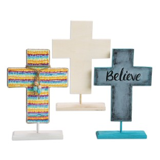 Wood Cross Standing on a Display (Pack of 3) - Image 1 of 4