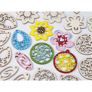 Flower Wood Bead Assortment - Image 1 of 4