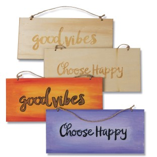 Double Sided Wood Plaques: Positive (Pack of 6) - Image 1 of 1