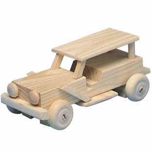 Unfinished Wood Jeep Kit, Unassembled - Image 1 of 1