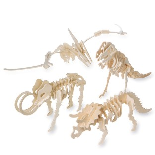Unfinished Punch and Slot Wood Dinosaur Assortment (Pack of 12) - Image 1 of 1