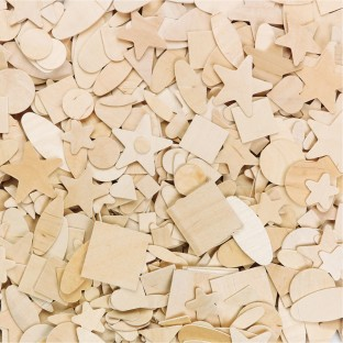 Wood Shapes, 7 Designs (Pack of 1000) - Image 1 of 1