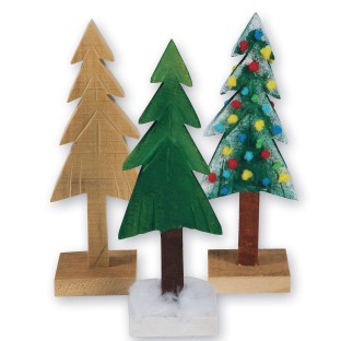 Unfinished Wooden Pine Trees - Image 1 of 3