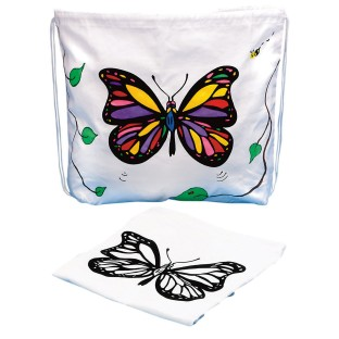 Drawstring Bag with Velvet Art Butterfly (Pack of 12) - Image 1 of 1