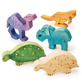 Unfinished Wooden Animal Puzzles - Safari Animals (Pack of 12) - Image 1 of 1