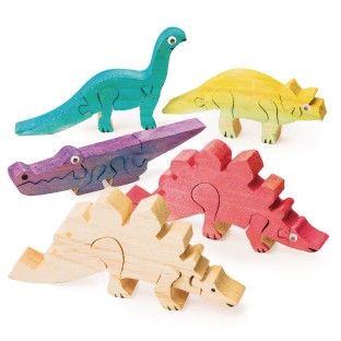Unfinished Wooden Animal Puzzles - Dinosaurs (Pack of 12) - Image 1 of 1