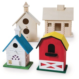 Unfinished DIY Wood Birdhouses Kit (Pack of 4) - Image 1 of 2