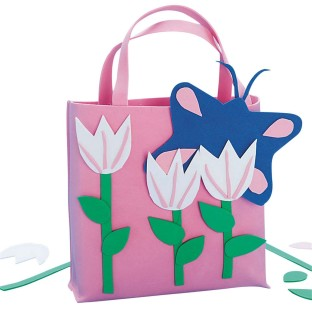 Pink Tulips Tote Bag© Craft Kit (Pack of 12) - Image 1 of 1