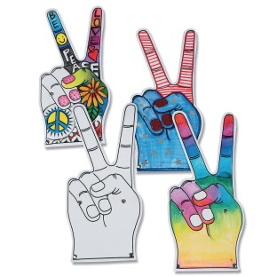 Peace Sign Foam Fingers (Pack of 12) - Image 1 of 2
