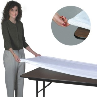 "Kwik-Cover® Banquet Size Fitted Plastic Table Cover, 8' x 30"" - Image 1 of 1"