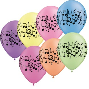Neon Music Note Latex Balloons (Pack of 50) - Image 1 of 1