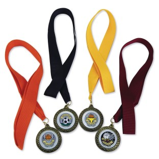 Basketball Award Medals with Neck Ribbons (Pack of 6) - Image 1 of 2