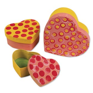 Paper Mache Heart Boxes (Set of 3) - Image 1 of 2