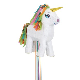 Enchanting White Unicorn Pull String Pinata - Image 1 of 1