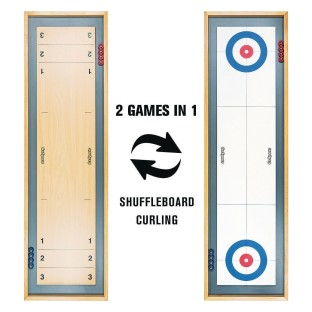 Shuffleboard And Curling 2 In 1 Wooden Tabletop