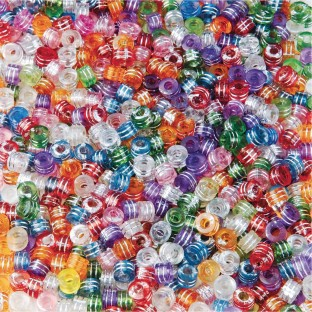 Color Splash!® Metallic Striped Pony Bead Assortment - Image 1 of 2