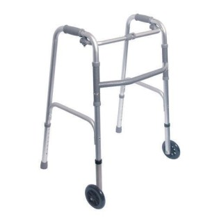 DMI Single Release Aluminum Walker with Wheels, Rubber Tip, Silver - Image 1 of 1
