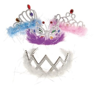 Feather Boa Princess Tiara (Pack of 12) - Image 1 of 1