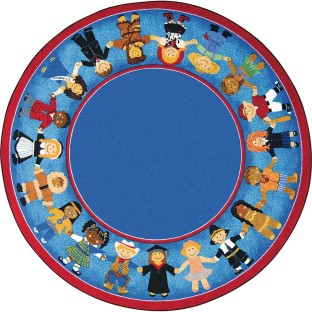 Children of Many Cultures Carpet, 7', Earthtone - Image 1 of 1