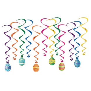 Easter Egg Whirls Hanging Decorations Pack (Pack of 12) - Image 1 of 1
