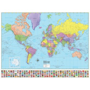 World Advanced Political Map (Laminated) - Image 1 of 1