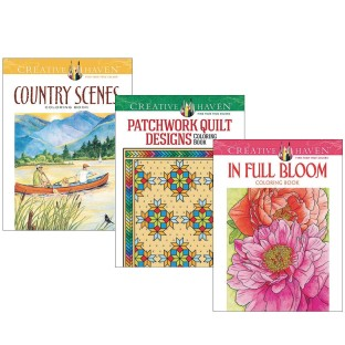 Creative Haven® Coloring Books: Quilts, Blooms, Country (Set of 3) - Image 1 of 1