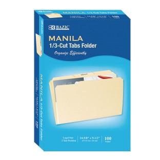 1/3 Cut Legal Size Manila File Folder (Pack of 100) - Image 1 of 1