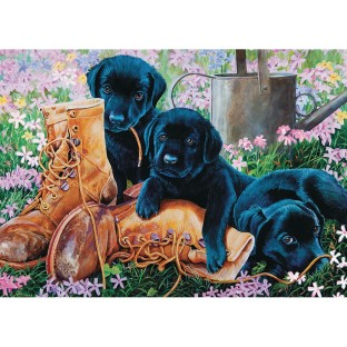 Black Lab Puppies 35-Piece Tray Puzzle - Image 1 of 1