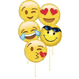 "18"" Emoji Mylar® Balloon Assortment (Pack of 10) - Image 1 of 1"