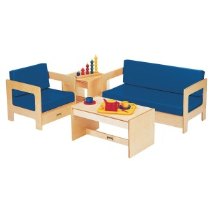 Blue Vinyl Replacement Cushions for Jonti Craft® Easy Chair - Image 1 of 1