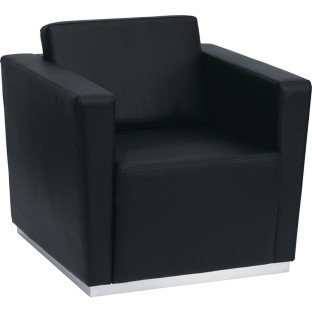 Contemporary Leather Chair, Black - Image 1 of 1