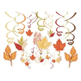 Fall Foliage 30-Piece Swirl Hanging Decorations Mega Value Pack (Pack of 30) - Image 1 of 1