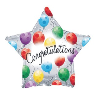 Congratulations Twinkling Star Mylar Balloons (Pack of 10) - Image 1 of 1